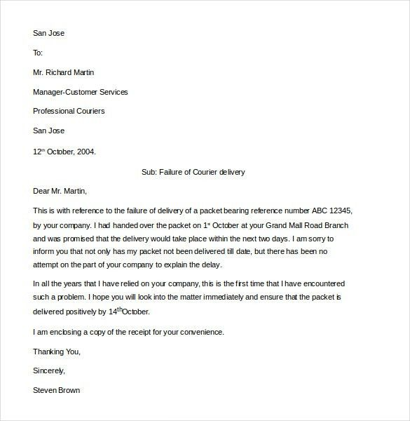 Customer Complaint Letter Template - 11+ Free Sample, Example ...