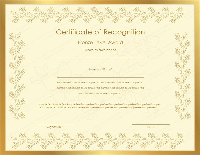 Level Certificate of Recognition Template