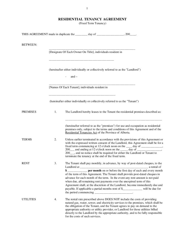 Residential Tenancy Agreement - Alberta Free Download