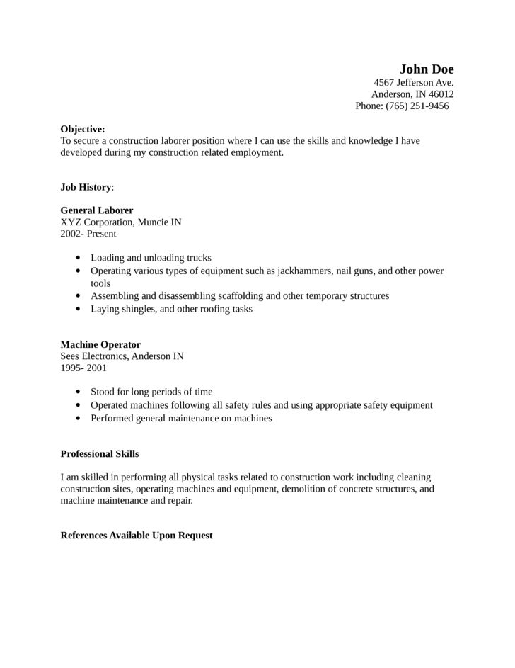 Download Laborer Resume | haadyaooverbayresort.com