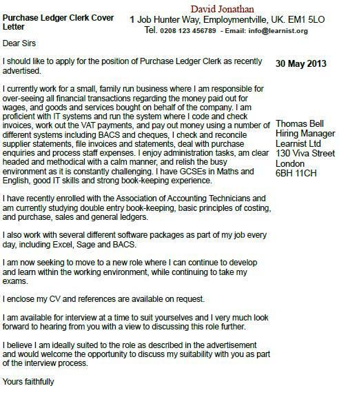 Purchase Ledger Clerk Cover Letter Example - forums.learnist.org