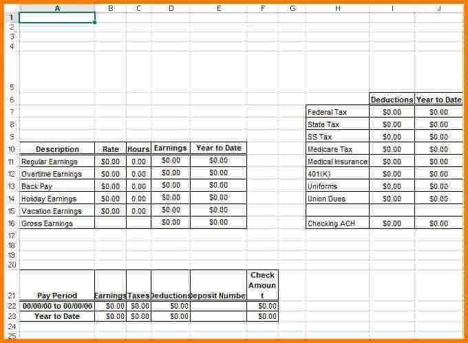 4 pay stub template excel | Receipt Templates