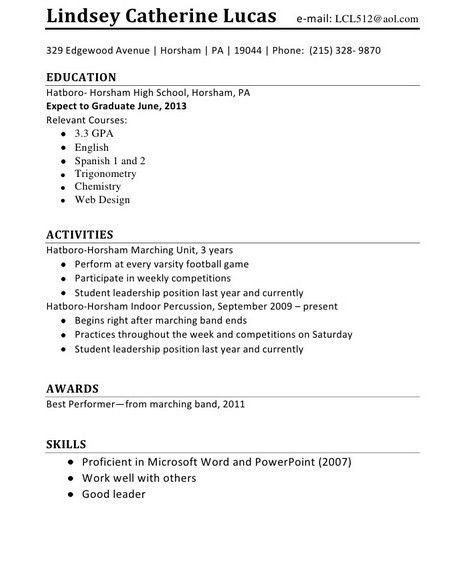 First Job Resume Format - http://getresumetemplate.info/3586/first ...