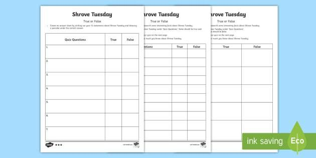 Shrove Tuesday True or False Quiz Template Activity Sheet