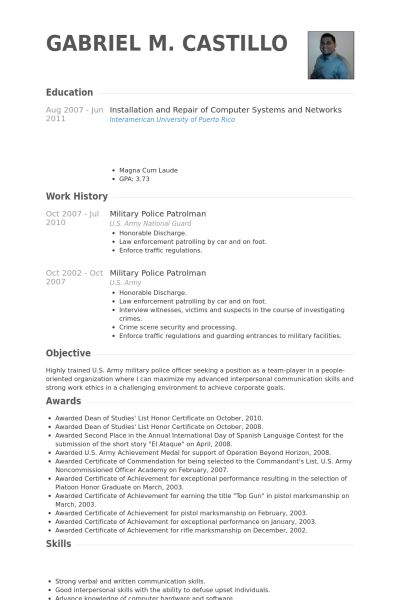 Military Resume samples - VisualCV resume samples database