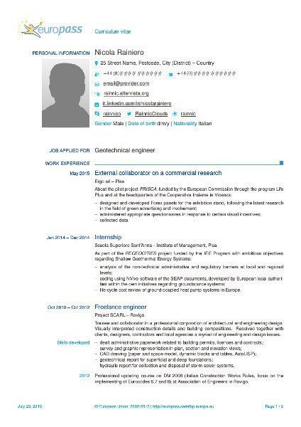 Another LaTeX template for the 2013 Europass CV | Rainnic in the ...