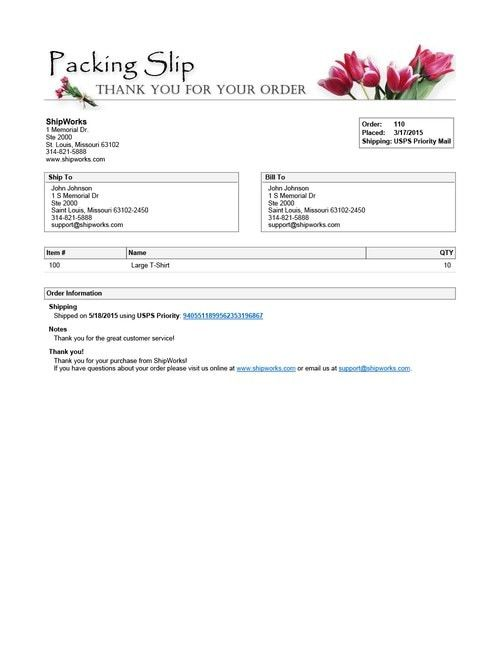 shipping slip template