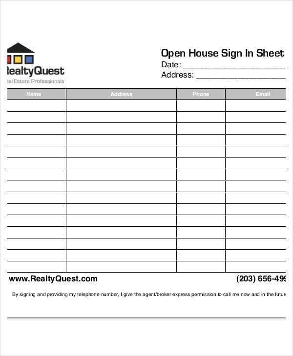 Open House Sign In Sheet Templates - 7+ Free PDF Documents ...