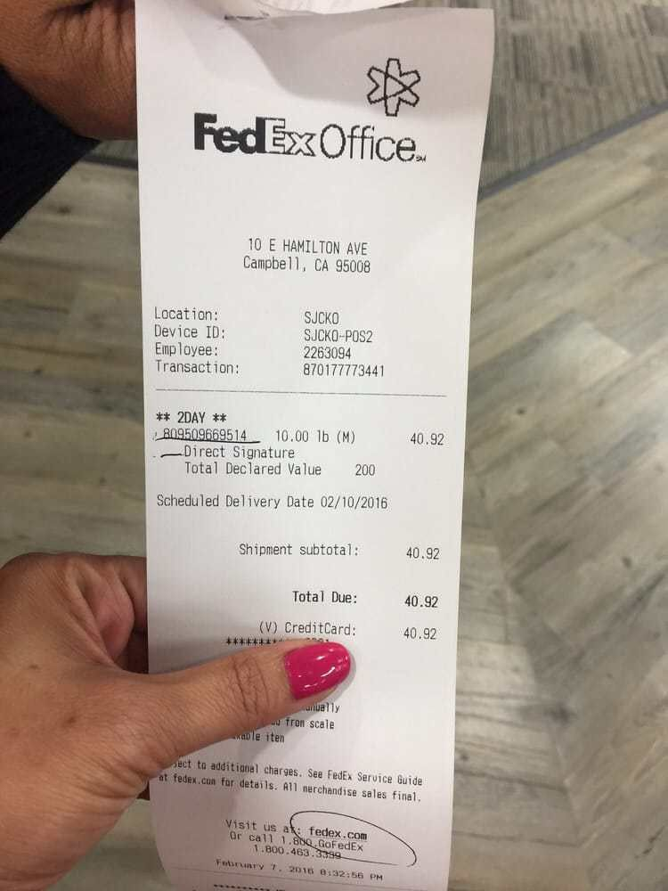 Here's our receipt of another fed-ex shipping our box that Shirley ...