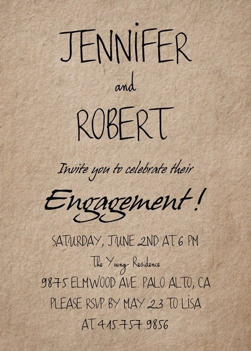 simple rustic personalized engagement party invitation cards ...