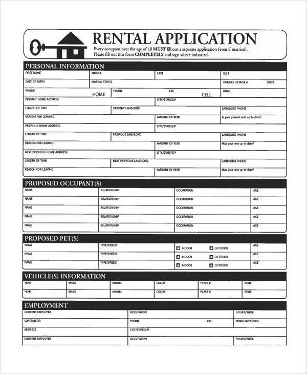 Free Application Form. Rental Application Template 14 42 Rental ...