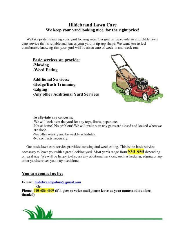 Hildebrand Lawn Care Flyer 1