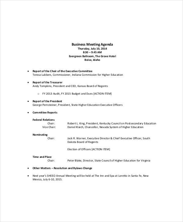 Microsoft Meeting Agenda Template – 10+ Free Word, PDF Documents ...