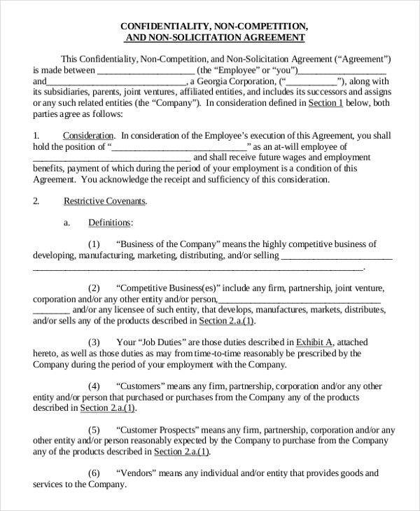 Vendor Non-Compete Agreement Template - 8+ Free Word, PDF ...
