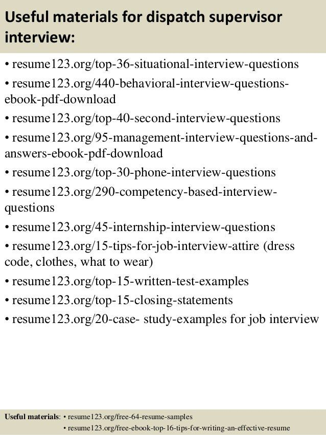 Top 8 dispatch supervisor resume samples