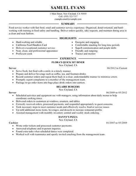 Stylist And Luxury Fast Food Resume Skills 5 Resume Example - CV ...