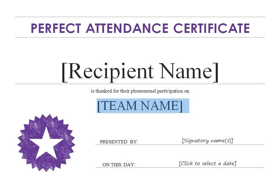 Free Perfect Attendance Certificate Award Template With Purple ...