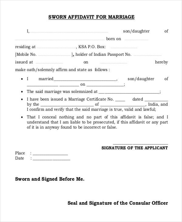 Sample Affidavit Form For Marriage - 11+ Free Documents in Word, PDF