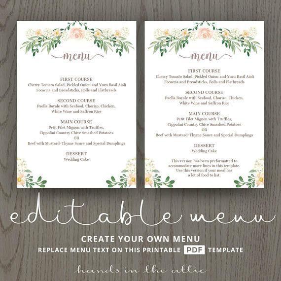 Rustic wedding menu rehearsal dinner menu template sit down menus ...