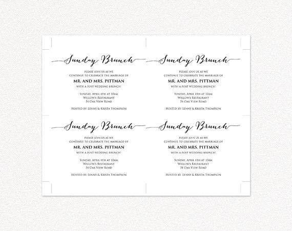 Sunday Brunch Details Card Insert Wedding Information Card