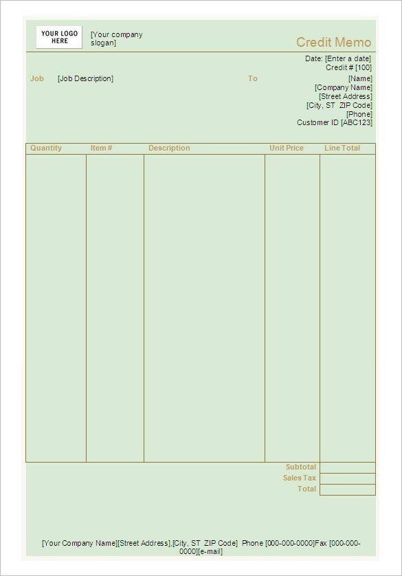 Credit Memo Template - 13+ Free Word, Excel, PDF Documents ...
