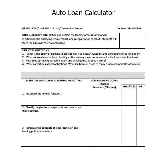 loan payment calculator template