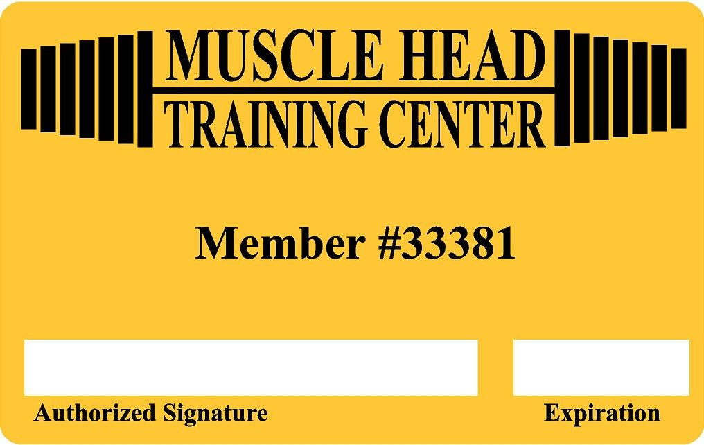 Gym Health Club Membership Plastic Cards