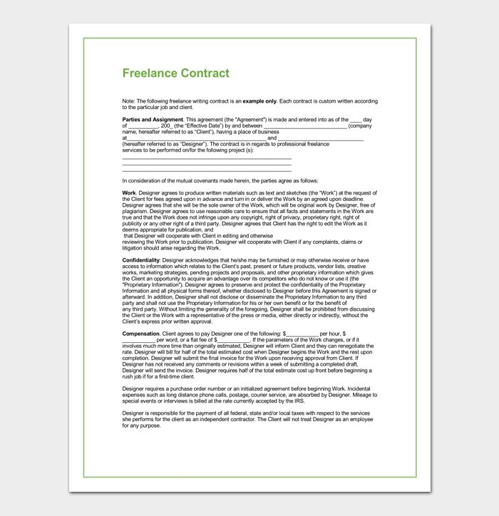 Freelance Contract Template - 5+ For Writing, Designing, Employment