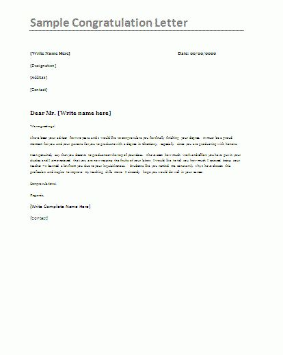 Sample Congratulations Letter | Formsword: Word Templates & Sample ...