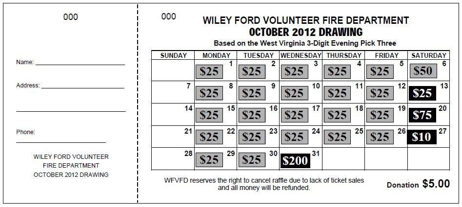 "TheRaffleTicketStore.com ""Jumbo Calendar"" Raffle Ticket. A chance ..."