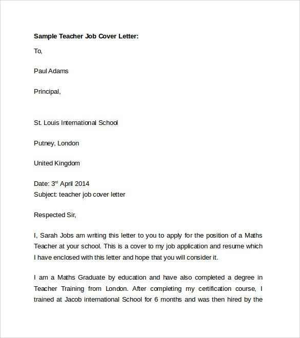 Interesting Teacher Cover Letter Template with Basic Cover Letter ...