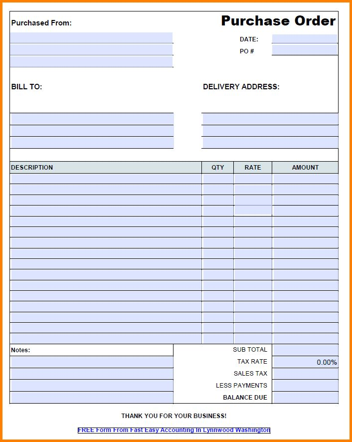 Free Purchase Order Template.Standard Format Of Purchase Order ...