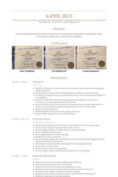 Tax Preparer Resume samples - VisualCV resume samples database