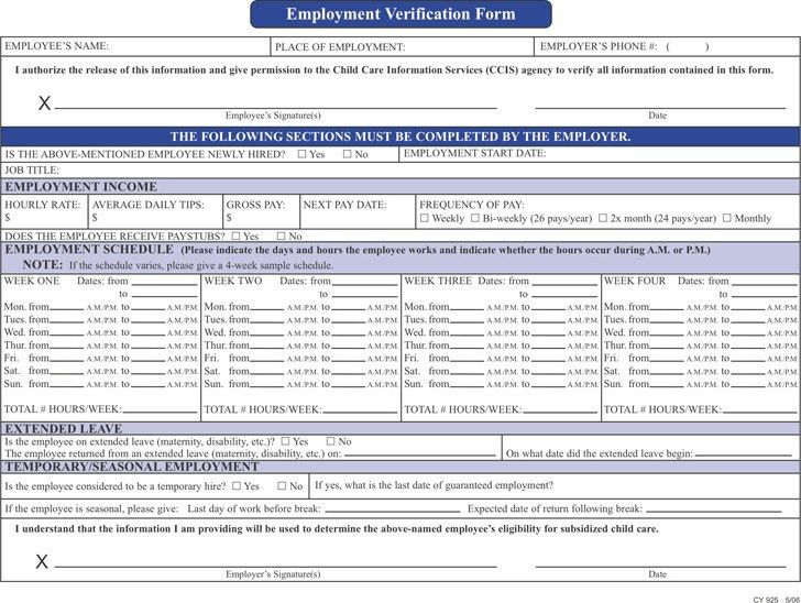 Employment Verification Form | Download Free & Premium Templates ...