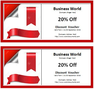 MS Word Discount Voucher Template | Document Templates