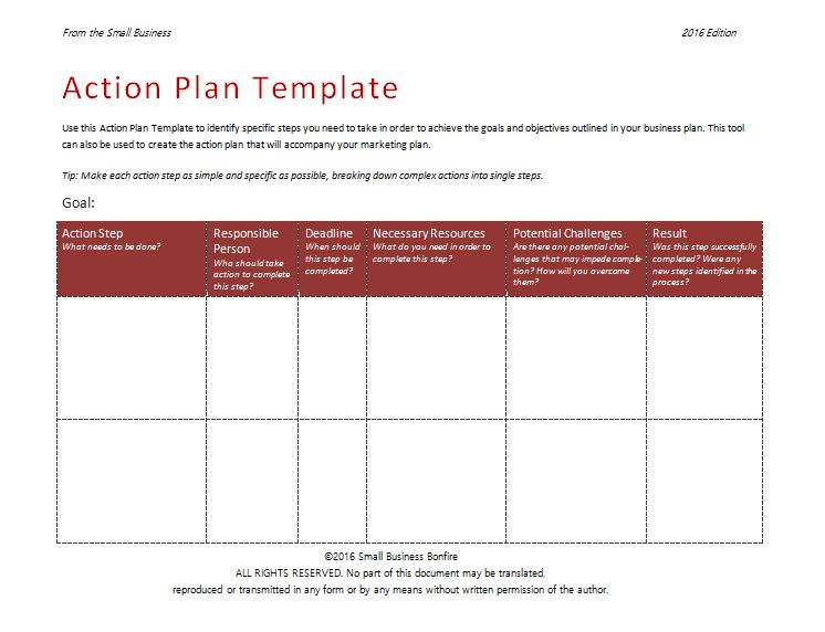 Action Plan Template - An Easy Way to Plan Actions