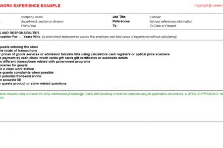 Cassino Cashier Resume - Reentrycorps