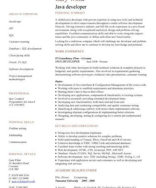 Fashionable Ideas Java Developer Resume Sample 2 CV Sample ...
