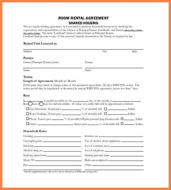 5+ month to month room rental agreement template   Purchase ...
