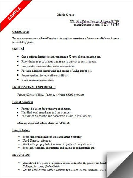 Dental Hygienist Resume Sample
