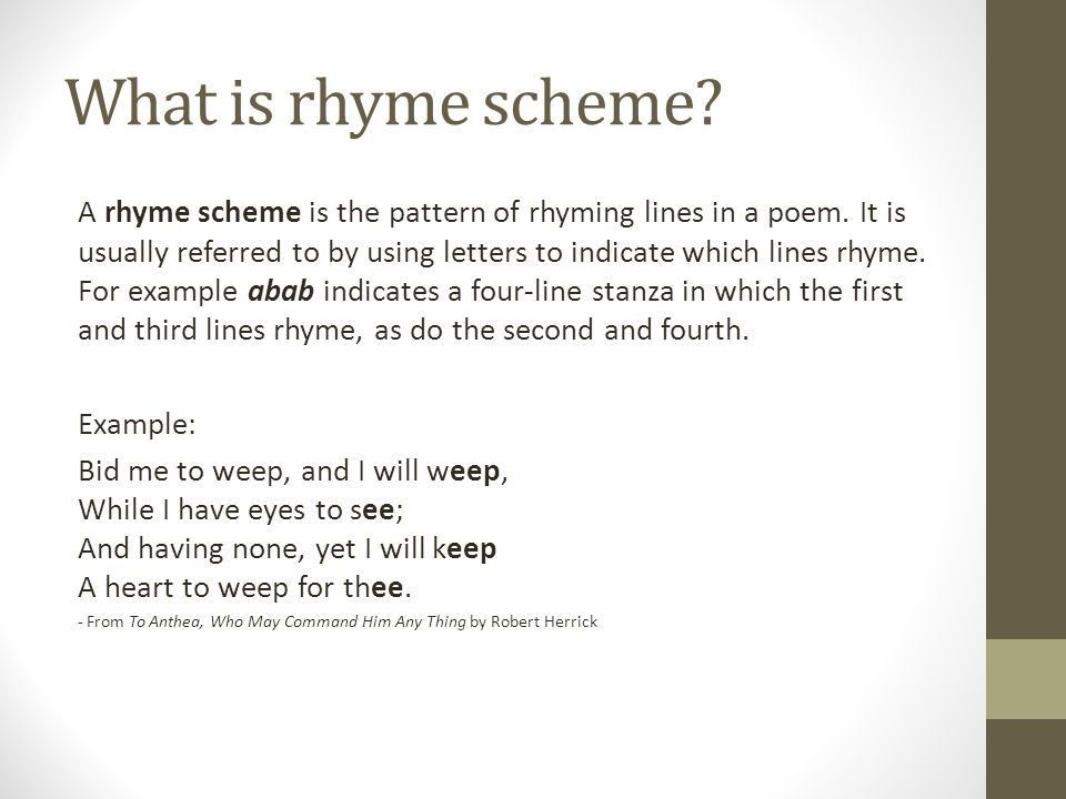 Rhyme Scheme and Stanzas Ms. Macemore Unit Two: American ...