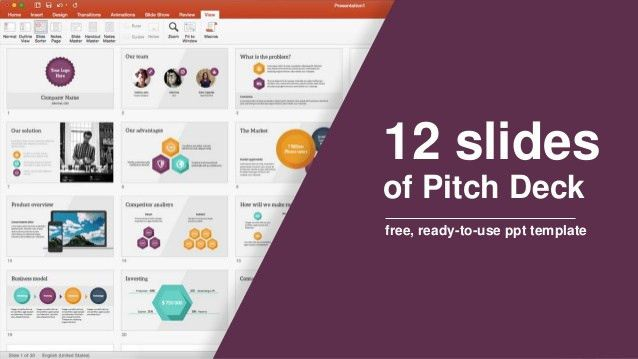 12 slides of Pitch Deck - free, ready-to-use ppt template