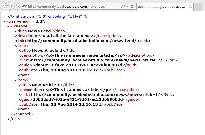 Example: RSS Feed Page Template · Adxstudio Community