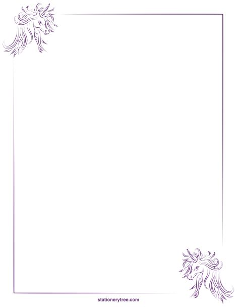 Printable unicorn stationery and writing paper. Free PDF downloads ...