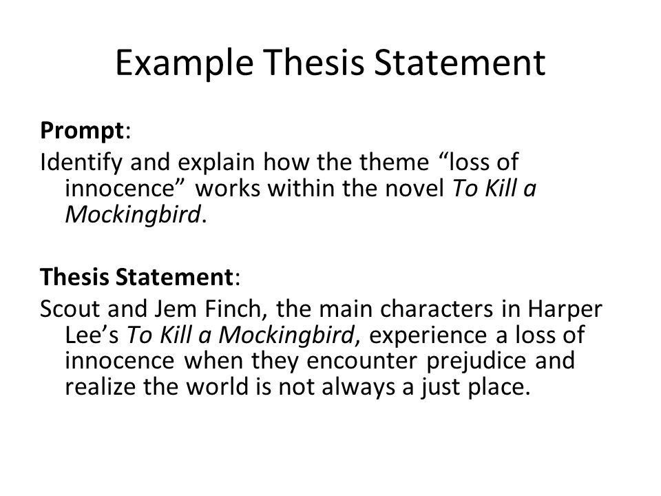 Thesis Statements A thesis is a statement that tells the reader ...