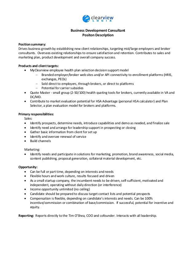 Business Development Consultant job description