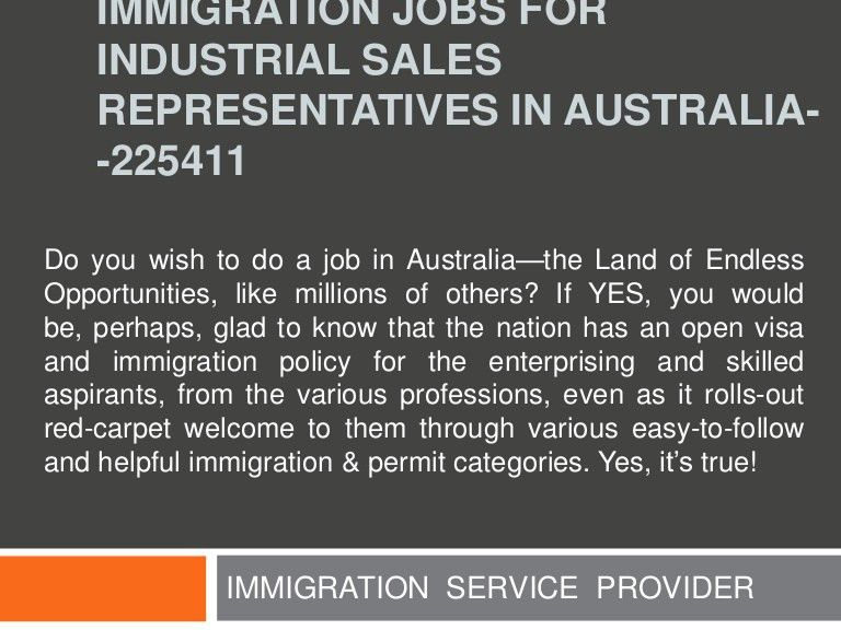 Immigration jobs for industrial sales representatives in australia