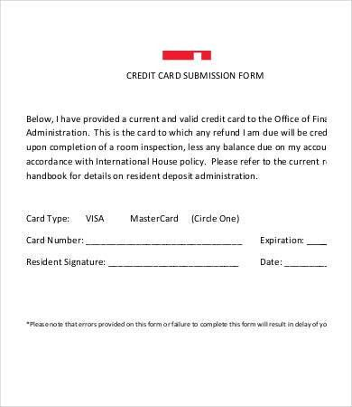 Credit Card Forms Template. authority form template credit card ...