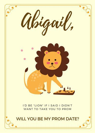 Lion Be My Prom Date Invitation - Templates by Canva