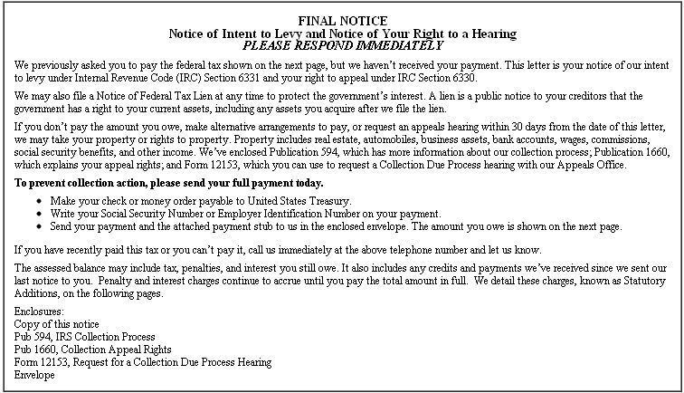 IRS Notice CP 90/CP 297   Final Notice   Notice Of Intent To Levy